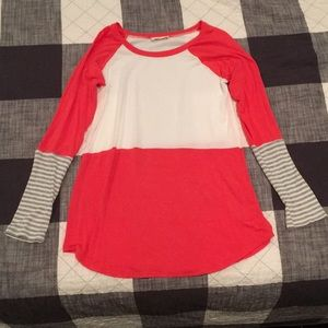 Coral and ivory color block tunic